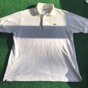 Lacoste white polo shirt Sz 5 = large pique cotton
